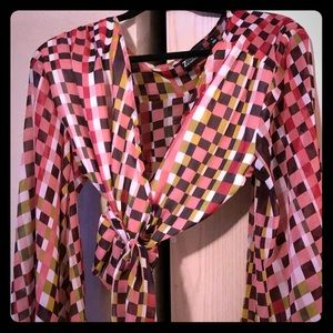 Colorful checkerboard cropped blouse